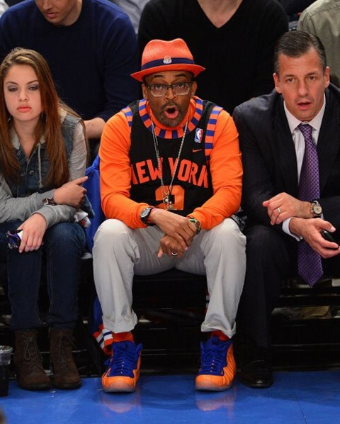 Spike-lee-courtside-in-knicks-Foamposites